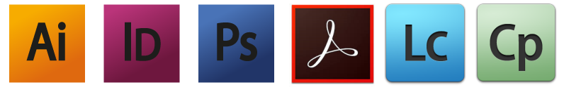 Adobe Acrobat, Indesign, Photoshop, Illustrator, Captivate